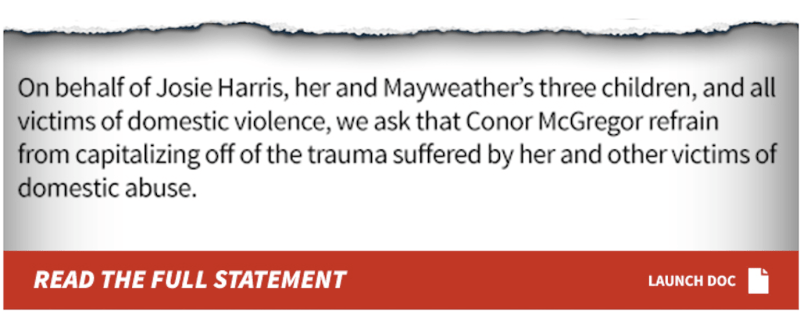 Josie Harris statement to Conor McGregor domestic violence