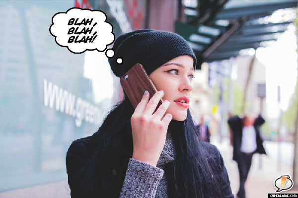 blah blah blah girl on cell phone