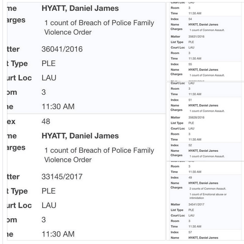 dan hyatt court appearance domestic violence