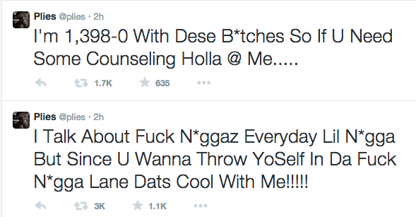 Screen shot 2014 12 07 at 8.18.36 PM Did You Miss It?  Rapper Plies & Chris Brown Trade Shots On Twitter