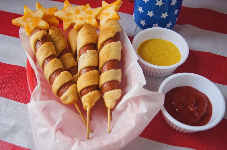 Firecracker-Hot-dogs with ketchup and mustard