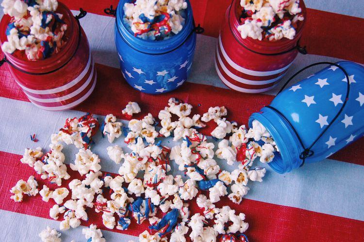 Patriotic Popcorn overhead spill