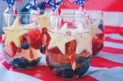 Red White and Blue Sparkling Sangria right close up front