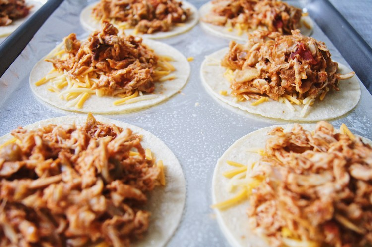 Rotisserie-Chicken-Tacos-with-cheese-front on sheet pan