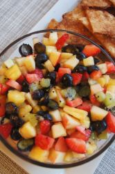 Fruit Salsa and Cinnamon Chips in a bowl on a platter