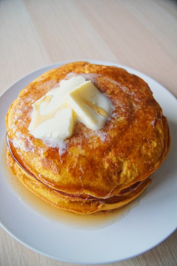 Pumpkin-Pancakes-stacked-with-butter-and-syrup
