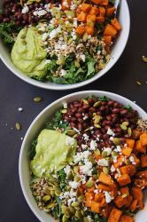 Sweet-potato-and-kale-power-salad-2-bowls-on-black-board
