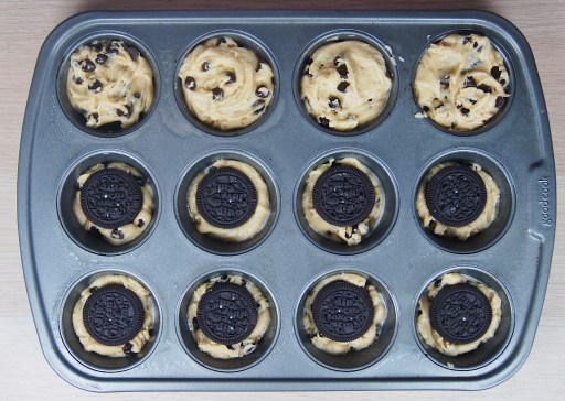 Chocolate-chip-oreo-cookies-in-muffin-tin