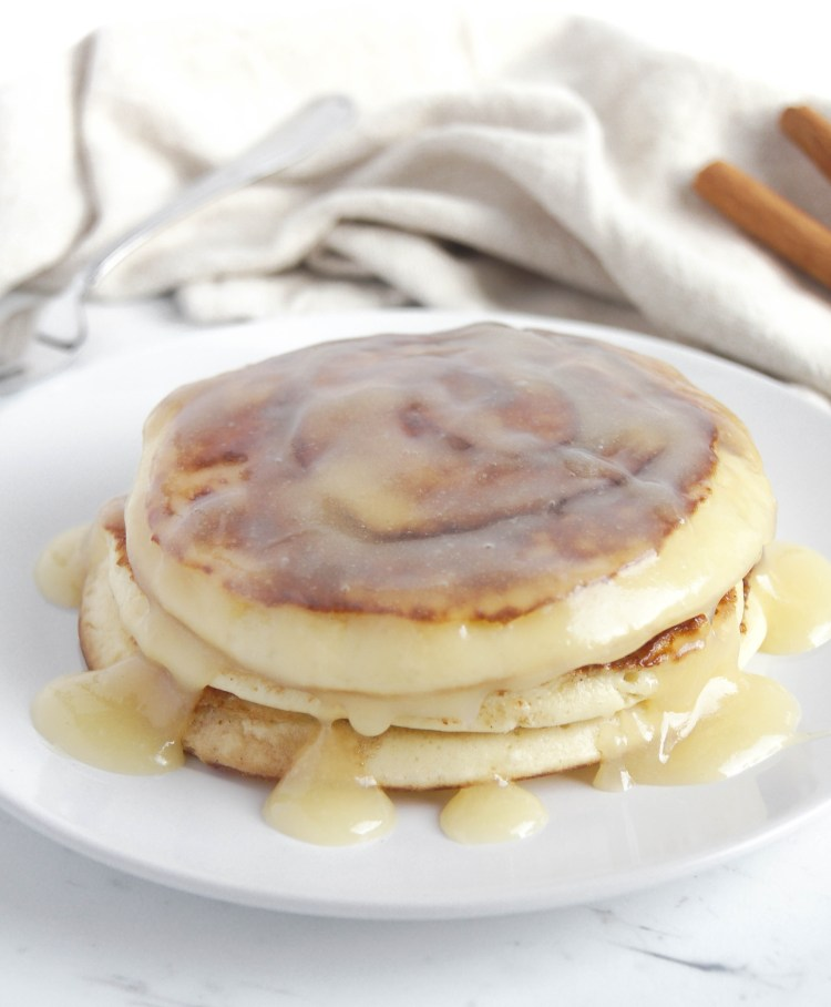 15-minute Cinnamon swirl pancakes on white plate
