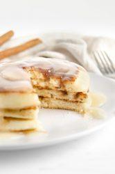 15-minute Cinnamon swirl pancakes bite shot