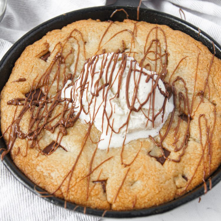 Nutella Stuffed Skillet Cookie