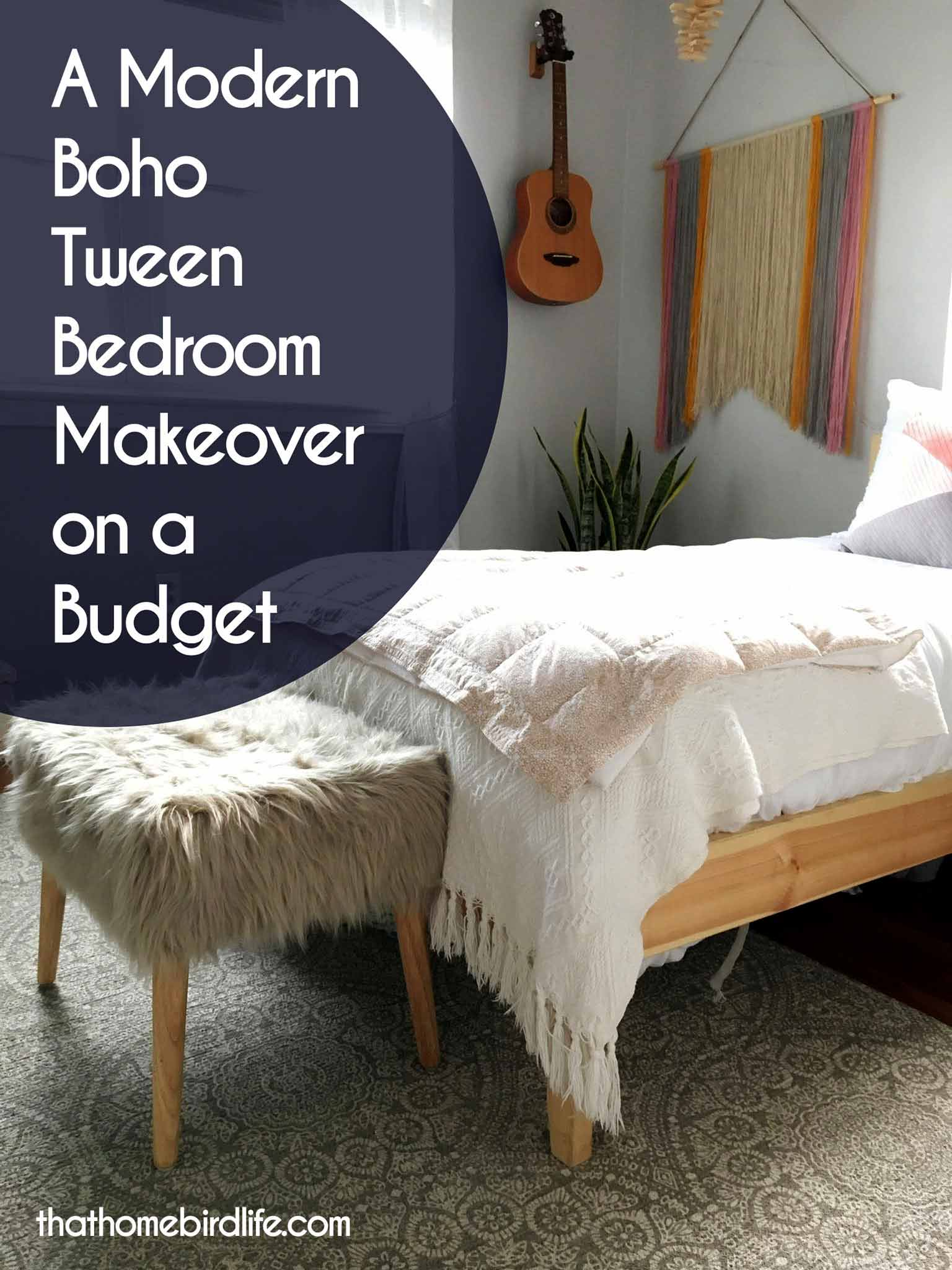 A Modern Boho Tween Bedroom Makeover on a Budget  That