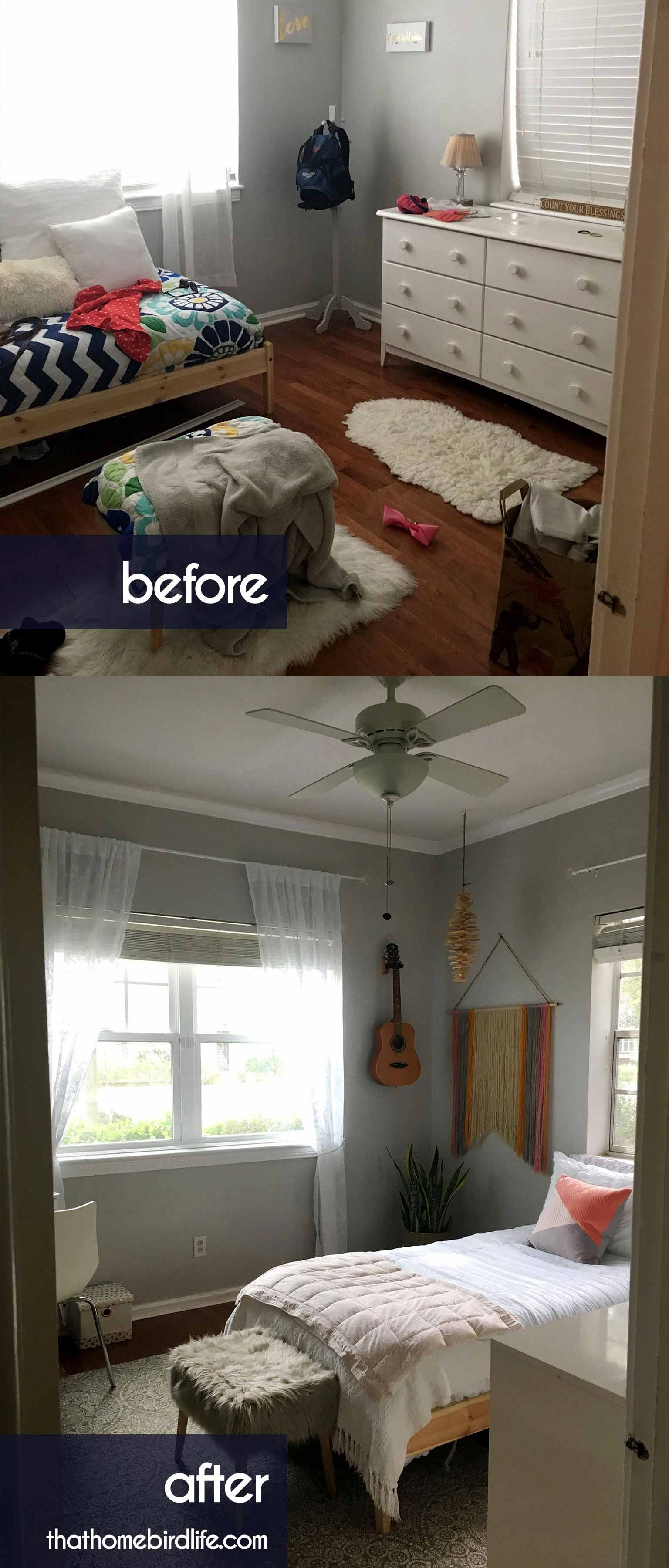 A Modern Boho Tween Bedroom Makeover on a Budget