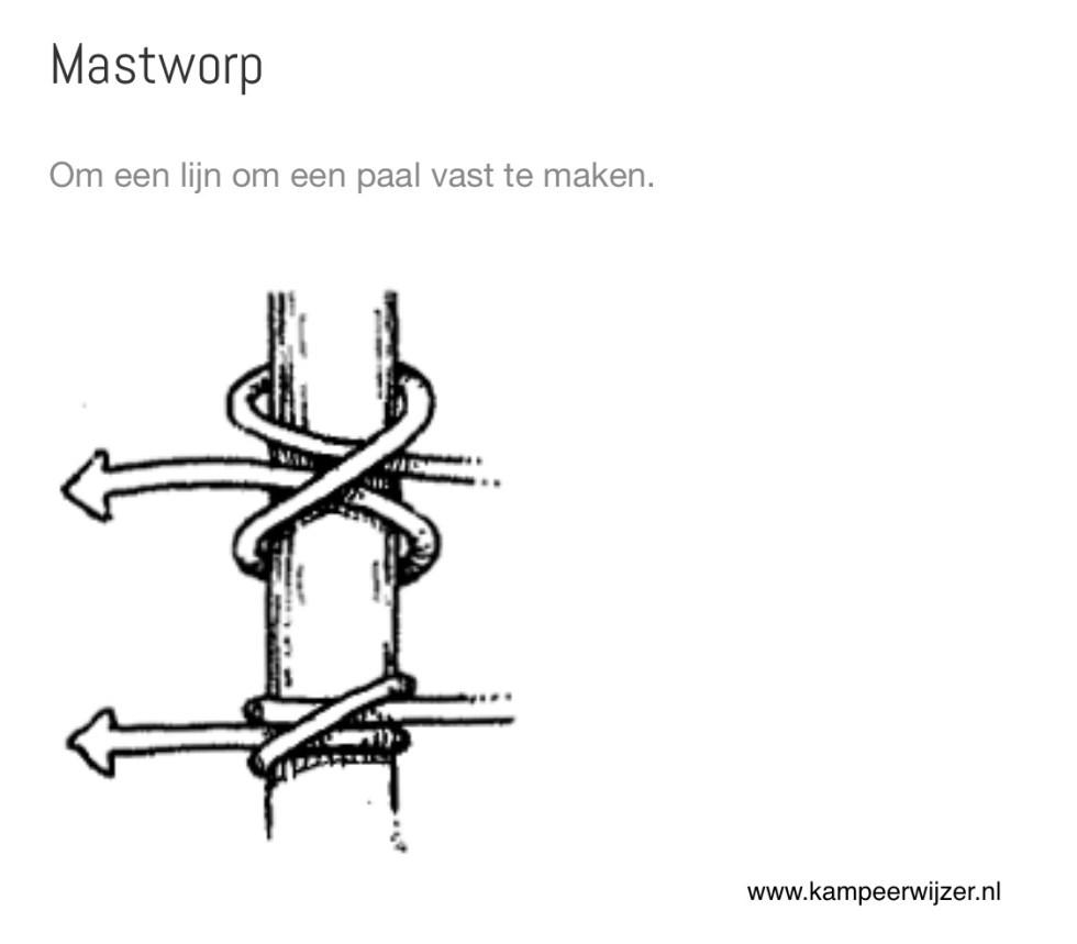 mastworp, knopen, knoop