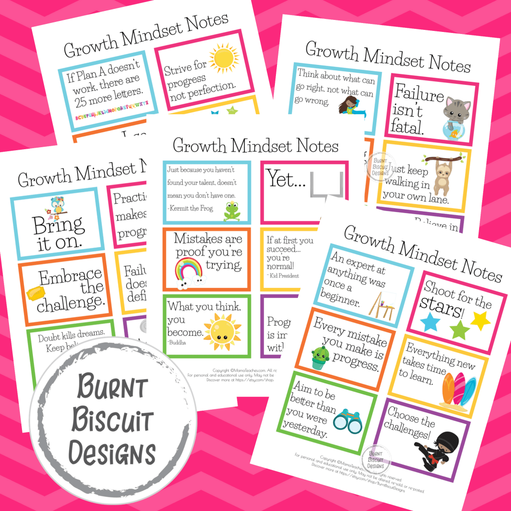 Bold Growth Mindset Positive Printable Notes