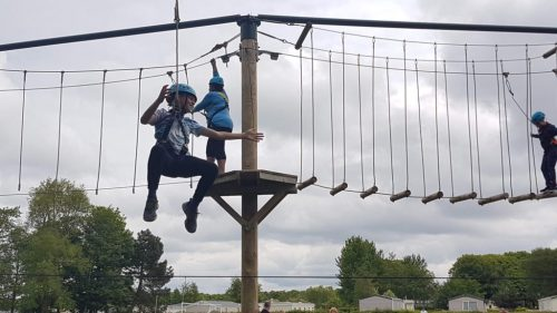 boy on high ropes
