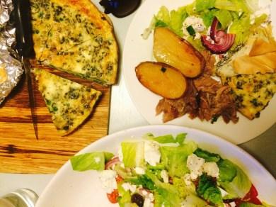 Greek Salad, lamb and roast potatoes