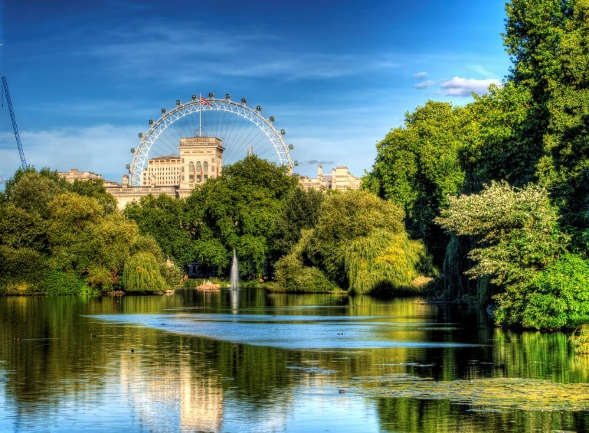 pond in St James's Park London with view of Whitehall and the London Eye