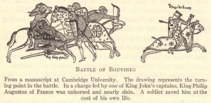 A page taken from a Cambridge manuscript on the battle of bouvines showing horses and riders