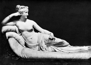Marble statue of Pauline Borghese as Venus Victrix, at Galleria Borghese, Rome