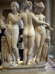 Marble statue of three graces, Roman copy of Greek 2nd Century BC Statue