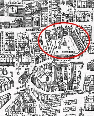 old black and white map of paris with red circle showing location of Cimitière des Innocents