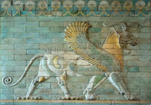 A Persian Griffin painted wall sculpture in the Sully wing of the Louvre