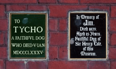 V&A garden plaques commemorating deaths of museum director's dogs