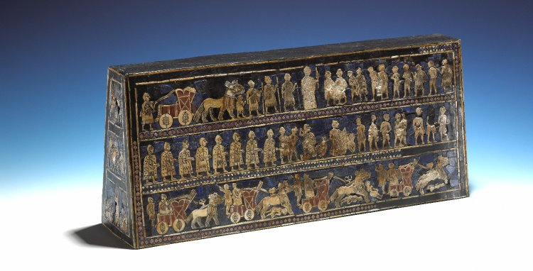 side view of the Standard of Ur, shell and limestone and lapis lazuli mosaic on wooden frame. Ancient Sumeria 2600BC