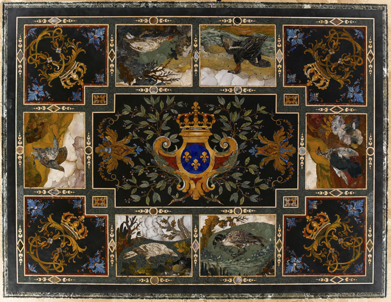 Gobelins table mosaic with images of birds