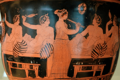 Glimps of ancient Greeks society in the scene of a vase