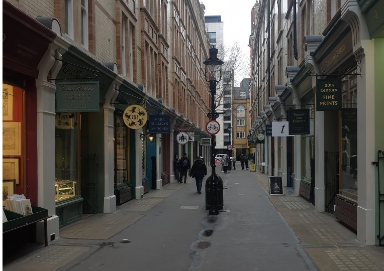 Cecil Court, London, empty of people