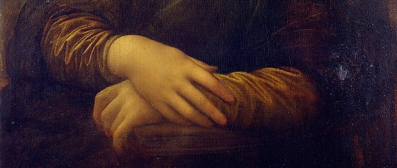 Detail of the folded arms of the Mona Lisa, Louvre, Paris