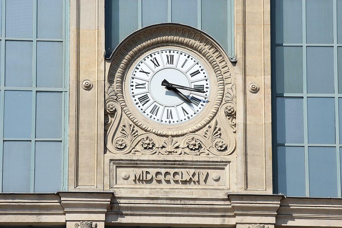 Train Clock on Gare du Nord in Paris