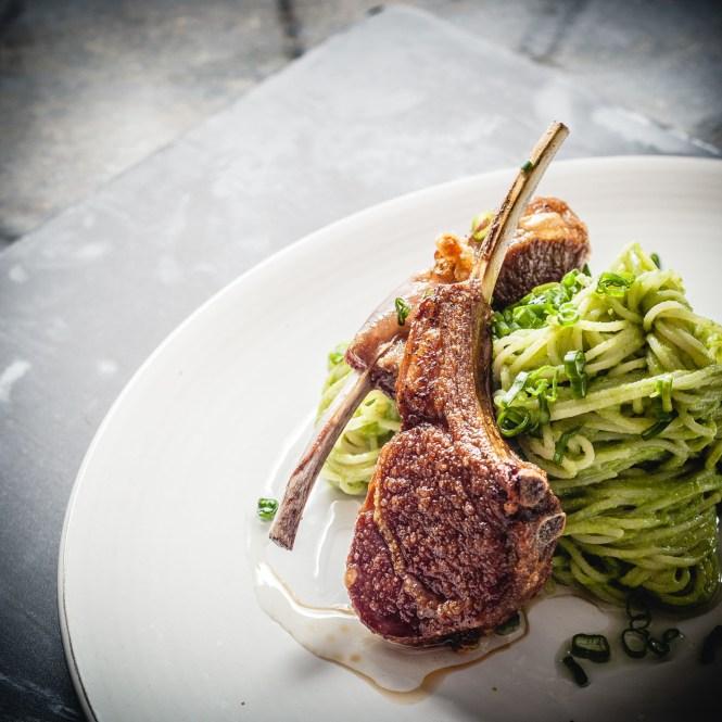 Lamb Chops and Broccoli Pesto Spaghettini