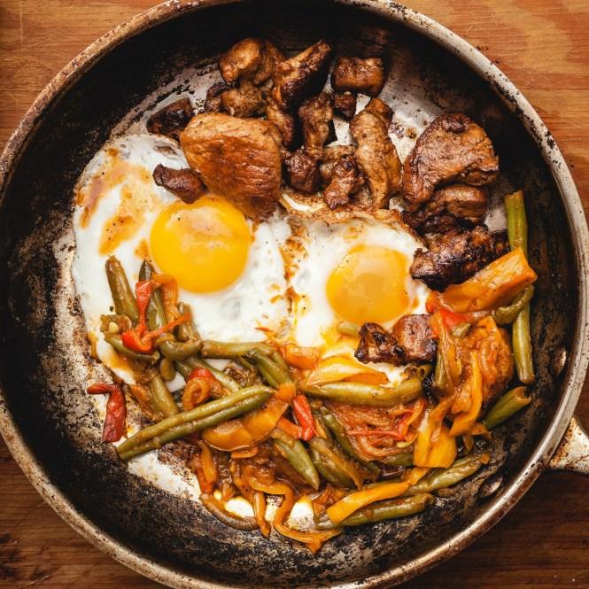 Eggs, Pisto and Pork Bits!