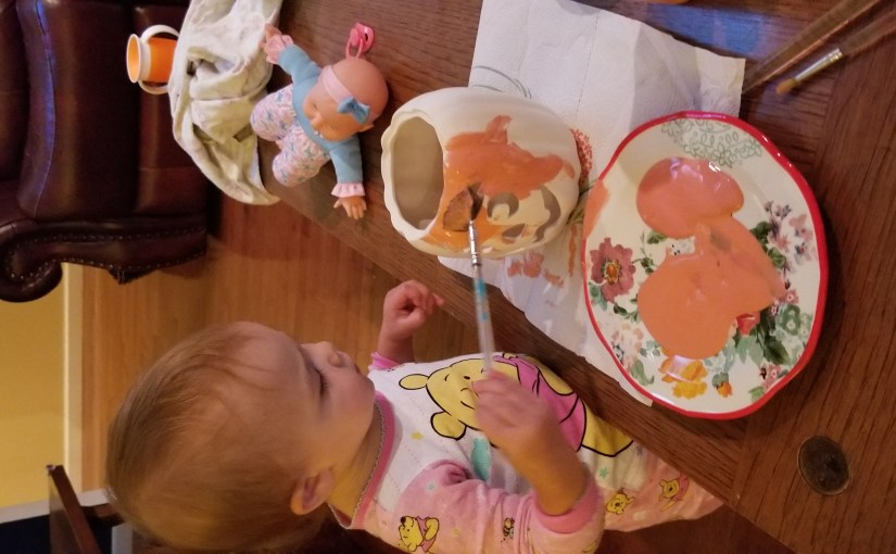 Pumpkin Painting in at Home in PJ's!