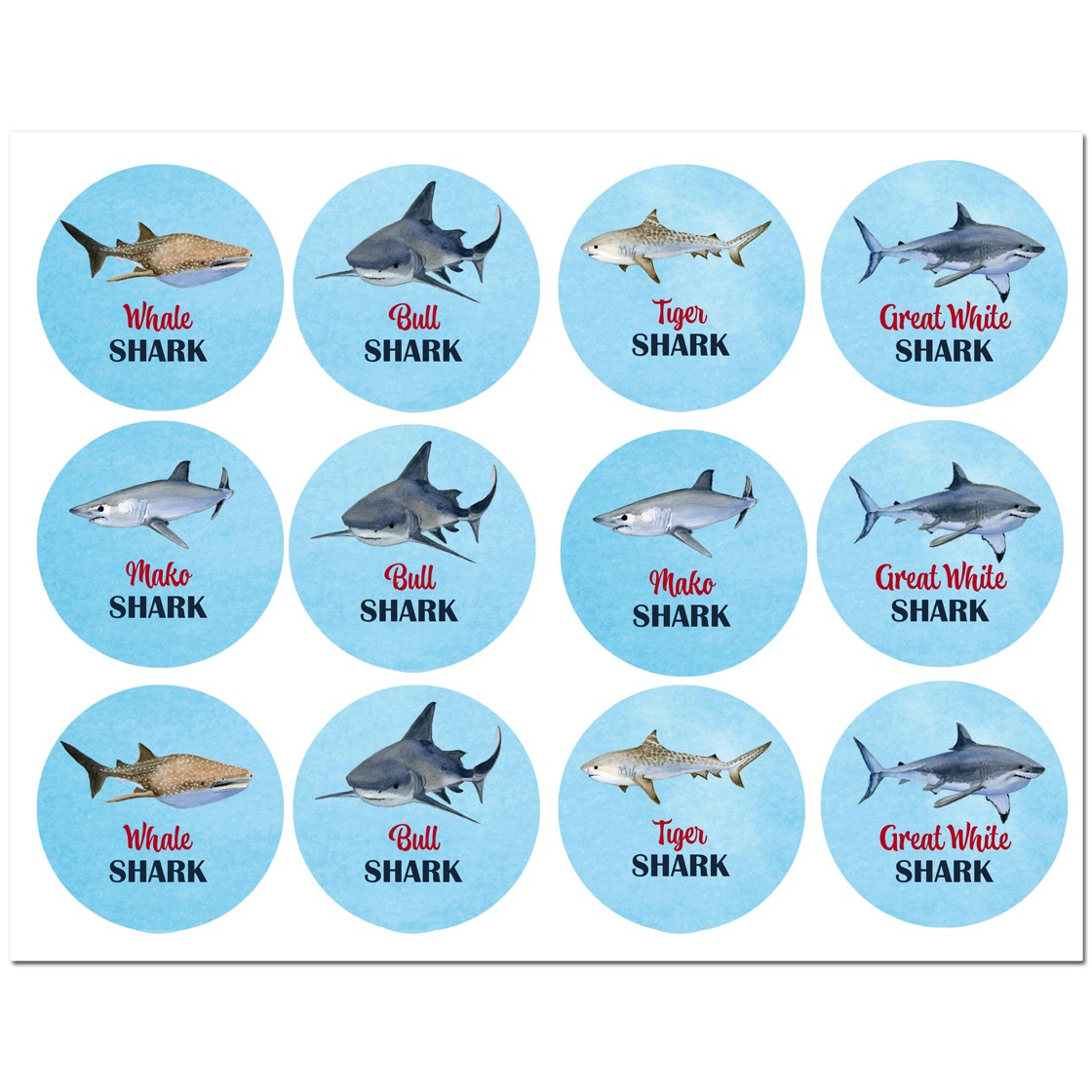 Shark Party Cupcake Toppers By That Party Chick