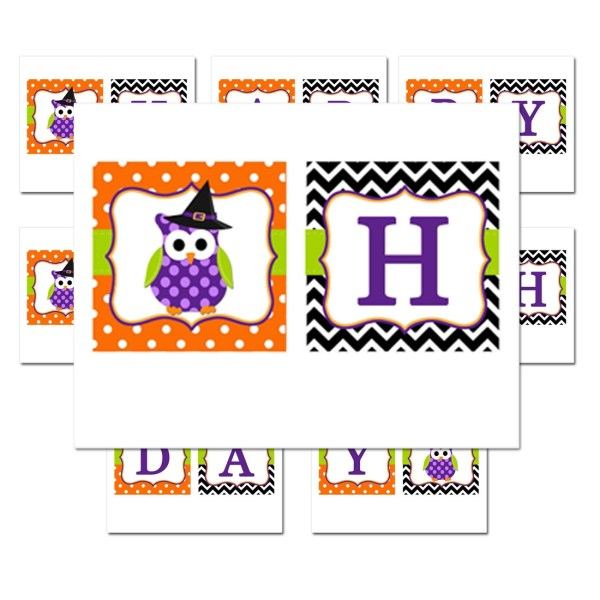 Halloween Owl quotHappy Birthdayquot Banner by That Party Chick