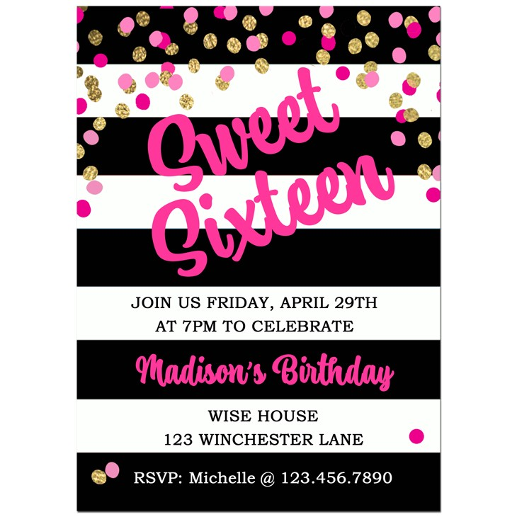 sweet 16 birthday party invitation by