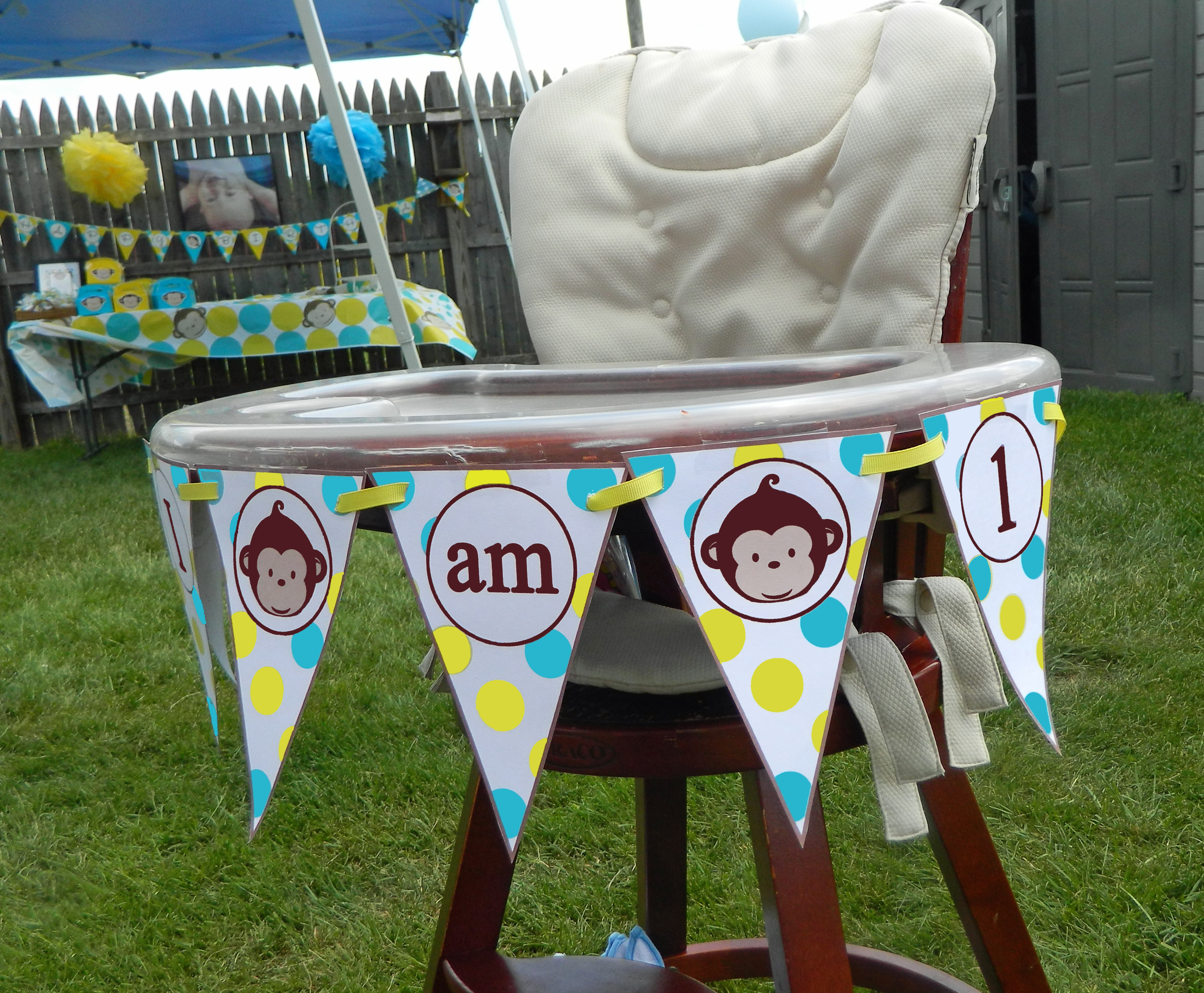 monkey high chair lift recliners medicare 1st birthday party that chick
