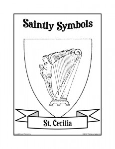 Saintly Symbols of St. Cecilia Coloring Sheet