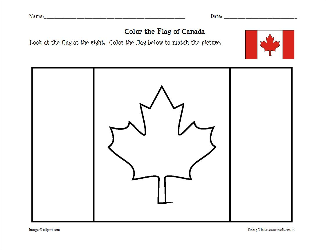Canadian Flag Coloring Sheet