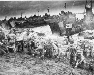 LST807 Navy ship WWII at Iwo Jima