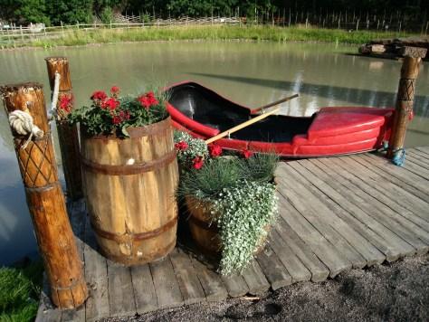 Red boat & dock