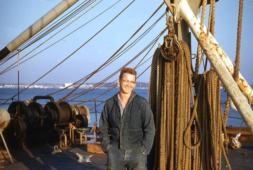 U.S.S. Waccamaw deck with sailor Wheeler.