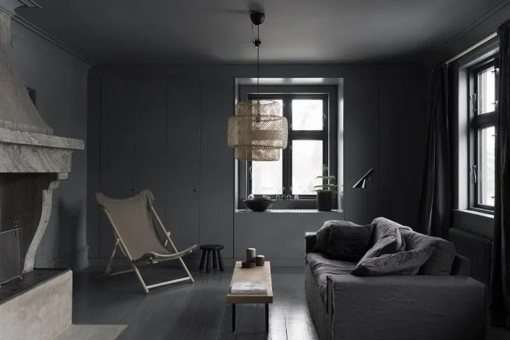 how to decorate large living room windows layout without coffee table dark & minimal scandinavian home | thatscandinavianfeeling.com