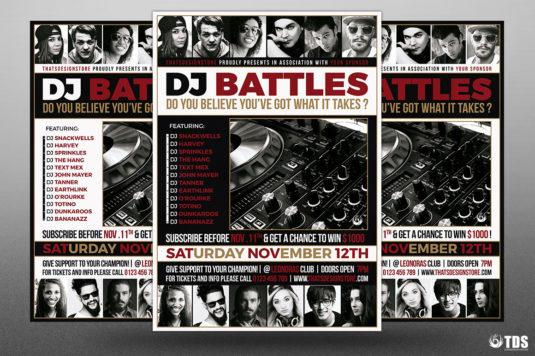 Dj Battle Flyer Psd Template Contest Design for photoshop V.4Dj Battle Flyer Psd Template Contest