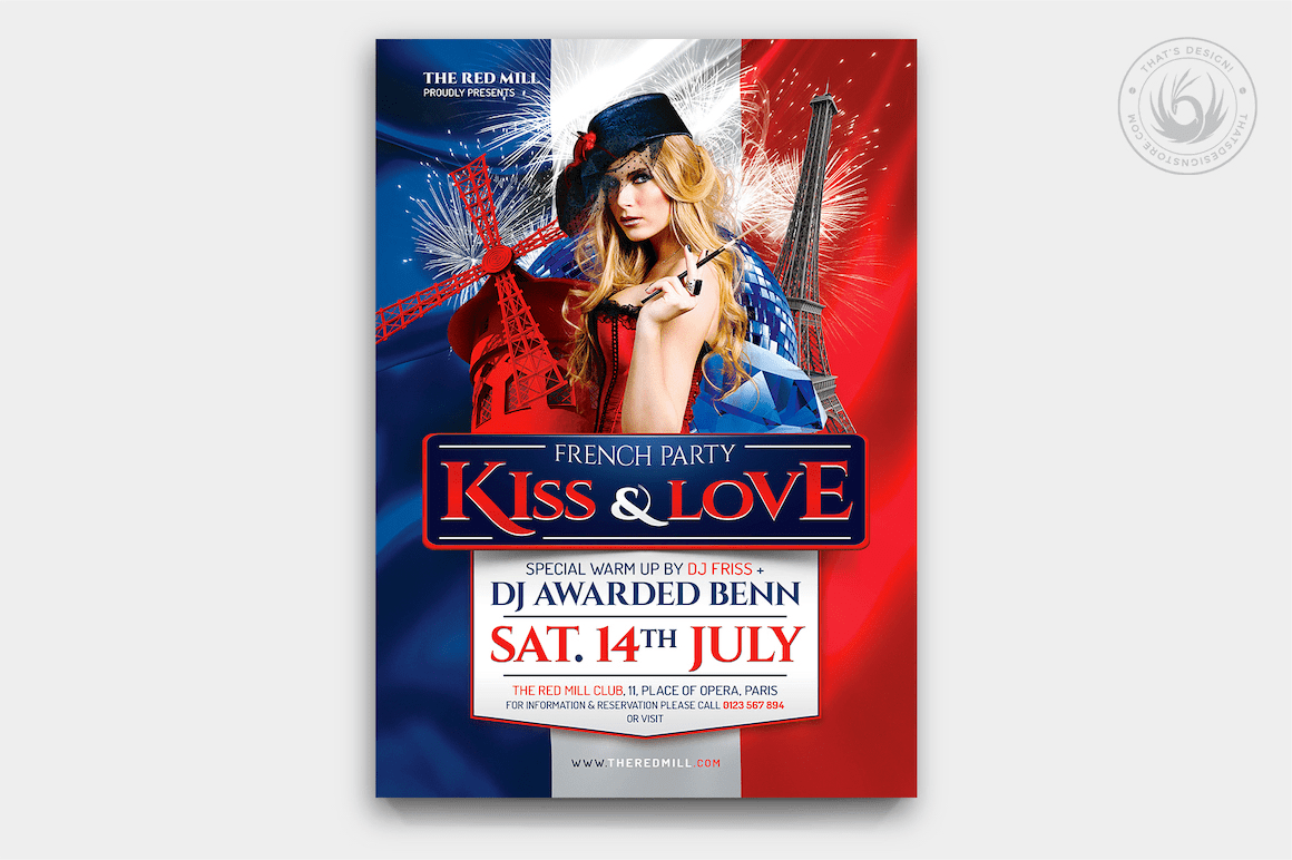 french party flyer template