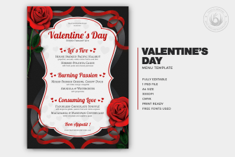 Valentine's Day Menu Template V8 love Psd download to customize with photoshop